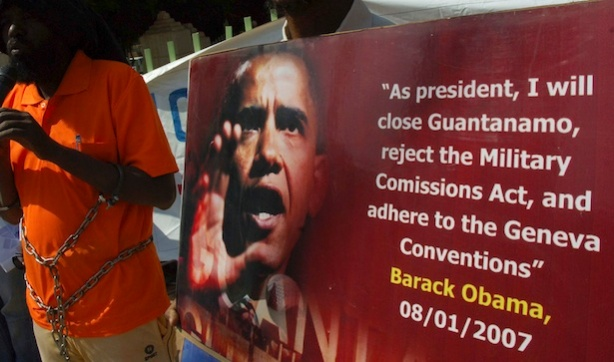 Sudanese protest outside the United Nation offices against the Guantanamo Bay detention camp in Khartoum