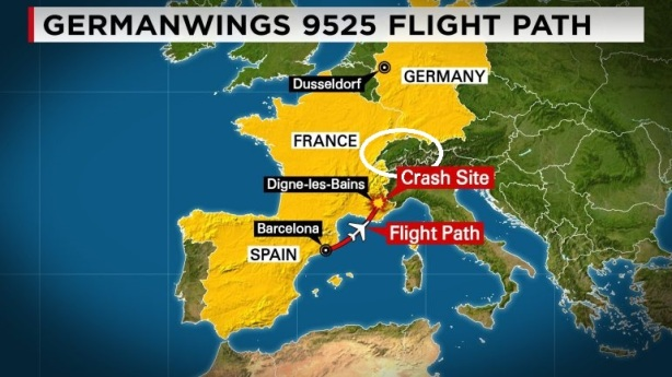 This map depicts the flight path of the Germanwings Flight 9525 that crashed in mountainous France on Tuesday, March 24, 2015.