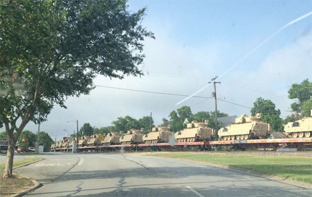 This photo of tanks in Brenham, Texas was posted to Twitter.