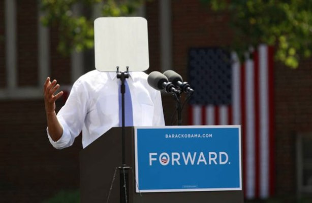 Obama Teleprompter Head