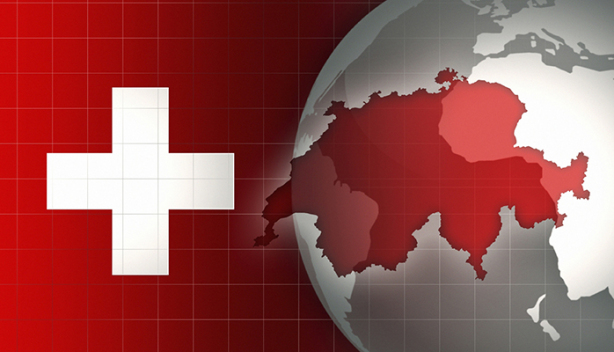 Switzerland Map and Flag on a world globe background