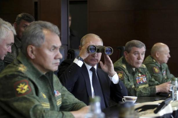 Russian President Putin watches the Zapad-2017 war games at a military training ground in the Leningrad region